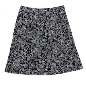 Talbots Black and White Embroidered A-Line Skirt